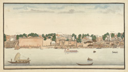 A view of the river bank at Benares, including the Mir Ghat, Lalita Ghat, and Jalsain Ghat